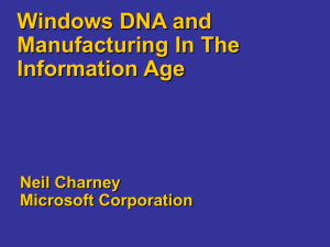 Windows DNA for Manufacturing