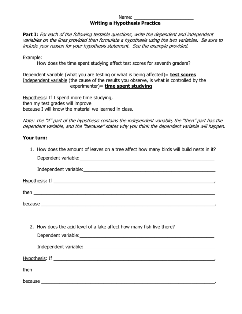 Independent And Dependent Variable Worksheet BossChens – Writing a Hypothesis Worksheet