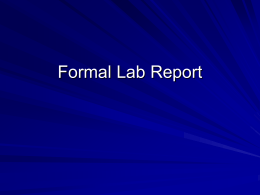 Formal Lab Report