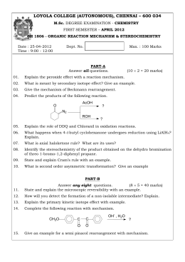 ch 1806 - organic reaction mechanism & stereochemistry