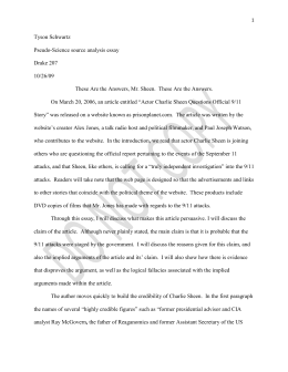9/11 Conspiracy Student Paper