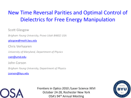 New Time Reversal Parities and Optimal Control