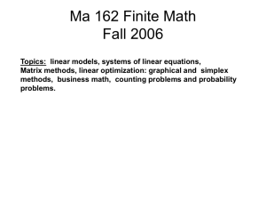 Ma 162 Finite Math Fall 2006