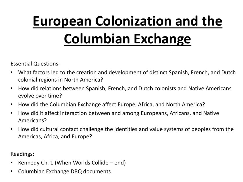 columbian exchange quiz pdf