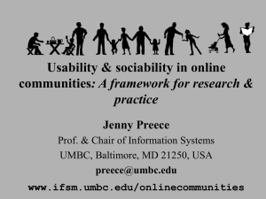Usability & sociability in online communities