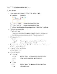 6.3 Logarithmic Functions CC 8-3