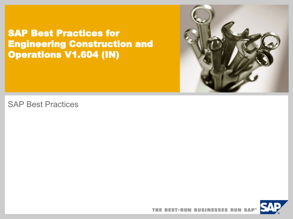 SAP Best Practices for Engineering, Construction