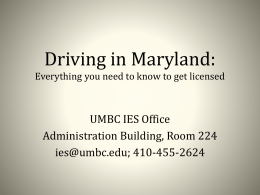 Driving in Maryland - International Education Services