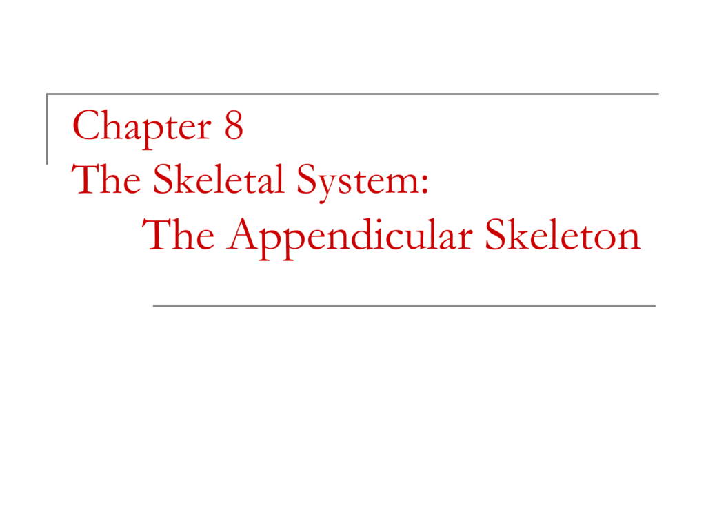 Chapter 8 Appendicular