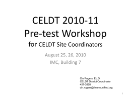 2010 Pre-Test Workshop (PowerPoint)