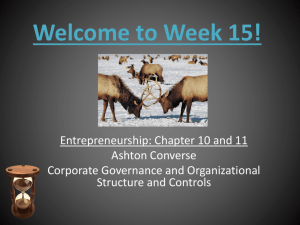 Welcome to Week 15! - Entrepreneurship and Strategic