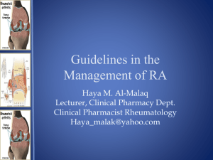 Guidelines in the Management of RA