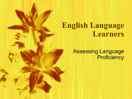 Language Proficiency Testing (ppts)