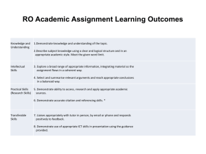 RO Academic Assignment Learning Outcomes
