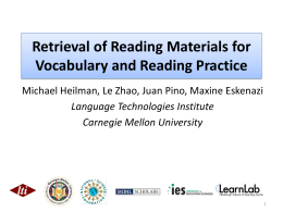 Retrieval of Reading Materials for Vocabulary and Reading Practice