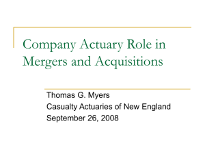 Company Actuary Role in Mergers and Acquisitions