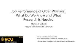 Job Performance of Older Workers: What do We
