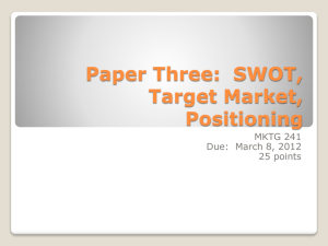 Paper Three: SWOT, Target Market, Positioning