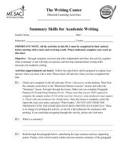 Summary Skills for Academic Writing DLA
