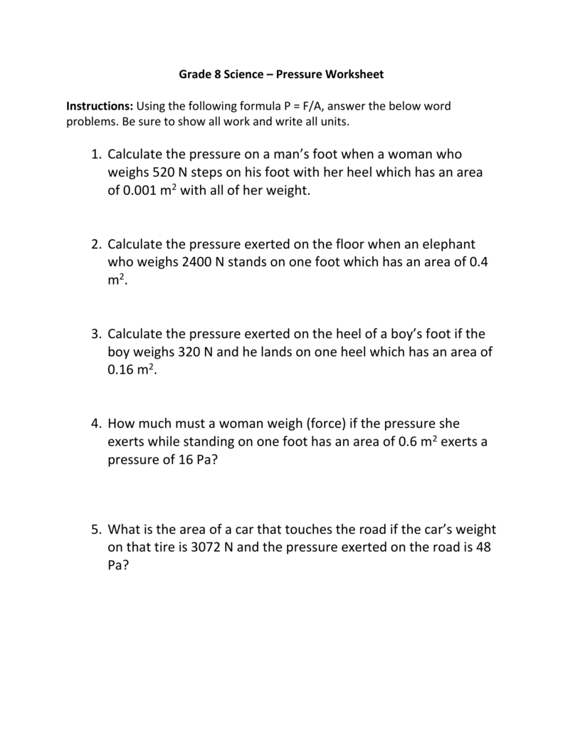 Grade 8 Science Pressure Worksheet Instructions – Calculating Work Worksheet
