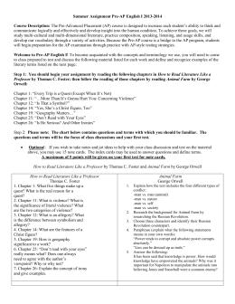 ap language summer assignment Summer reading and writing assignment ap language and composition eleanor roosevelt high school mr mata/mrs oberdank originated 5/13/04 v stevenson, c baldwin.