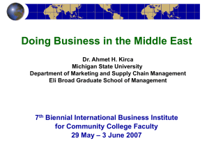 Doing Business in the Middle East - International Business Center