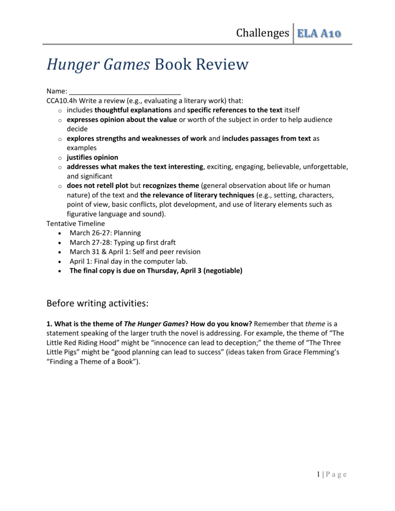 Challenges The Hunger Games Review