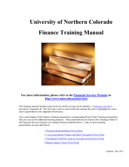 Finance Training Manual - University of Northern Colorado