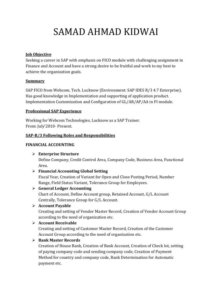 SAMAD AHMAD KIDWAI Job Objective Seeking a career in SAP