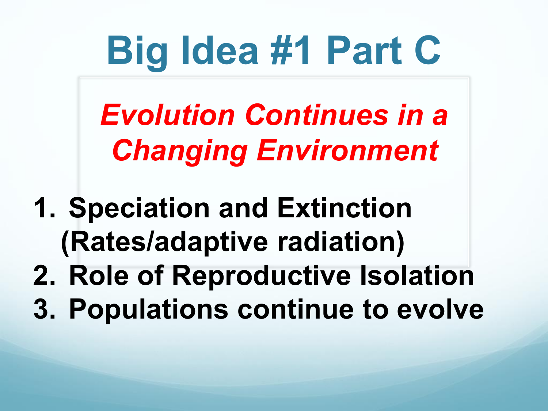 AP Biology Big Idea 1 part C