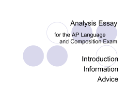 Prose Analysis Essay for the AP Language - The AP Cafe