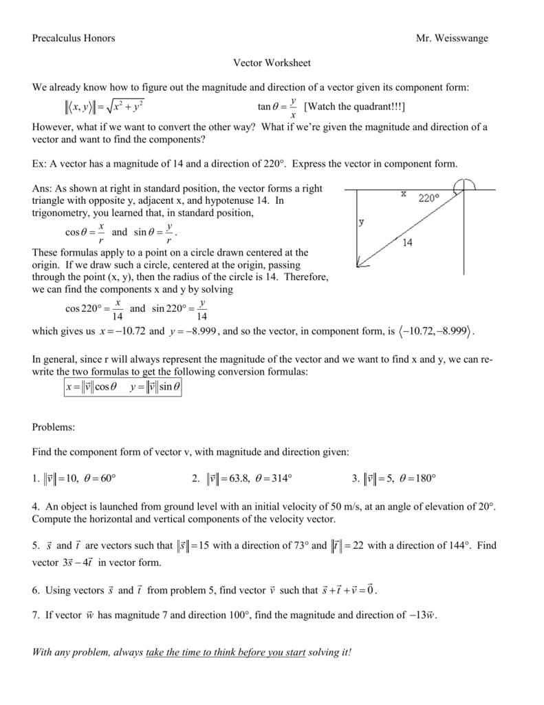 Vector Worksheet