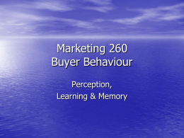Marketing 260 Buyer Behaviour