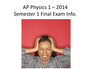 AP Physics 1 * 2014 Semester 1 Final Exam Info.