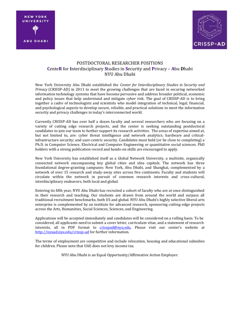 POSTDOCTORAL RESEARCHER POSITIONS CenteR for