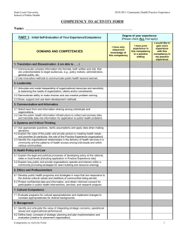 Competency to Activity Worksheet