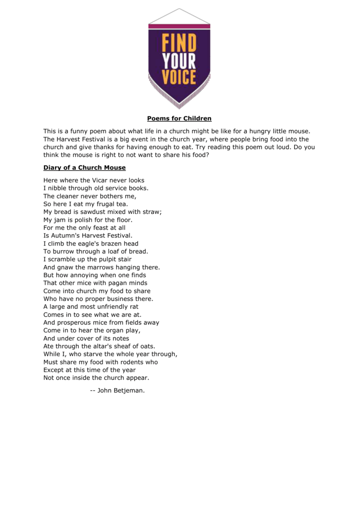 the church mouse poem