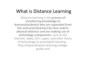 What is Distance Learning