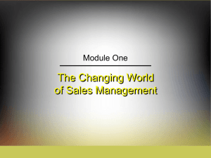 The Changing World of Sales Management