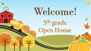 Welcome! 5th grade Open House Our School Day Our first class