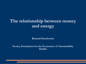 The relationship between money and energy