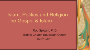 Islam, Politics and Religion Week 2
