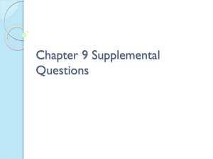 Chapter 9 Supplemental Questions