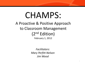 CHAMPS-Positive Behavior Interventions and Support in the