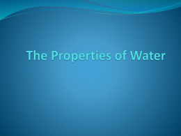The Properties of Water