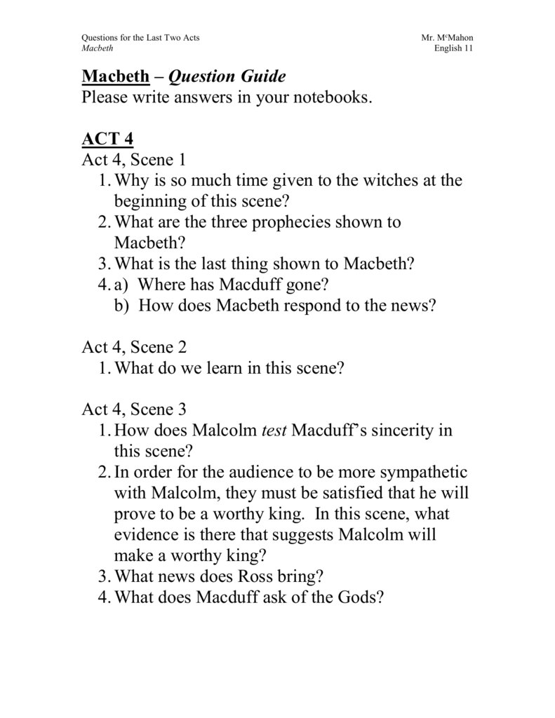 macbeth plot quiz