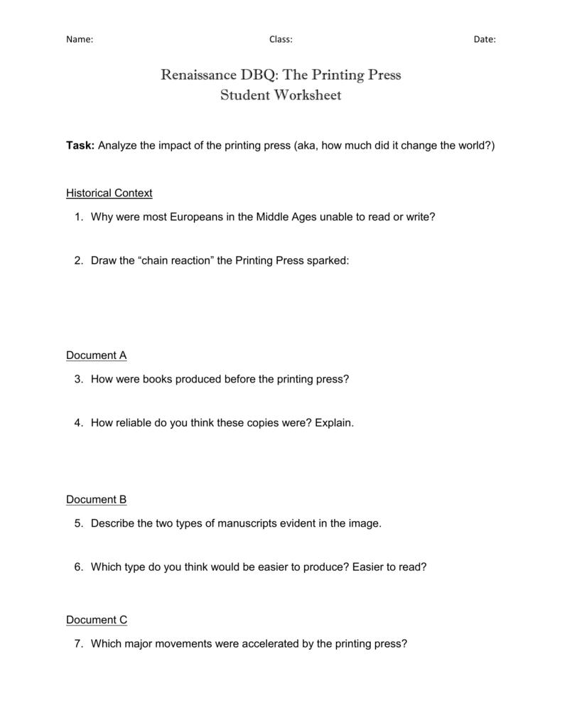 Printing Press DBQ Student Worksheet