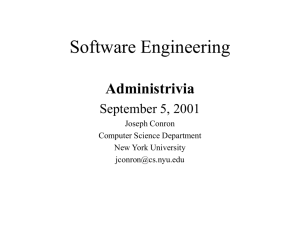 Software Engineering - NYU Computer Science Department