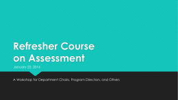 Refresher Course on Assessment