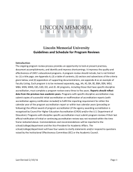Lincoln Memorial University Guidelines and Schedule for Program